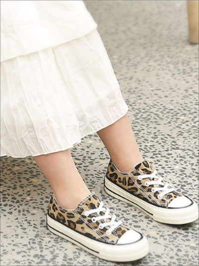 Girls Leopard Print Canvas Sneakers - Girls Sneakers