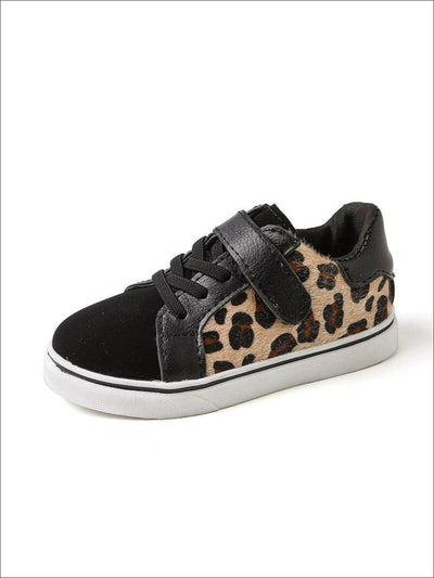 Girls Leopard Print Lace Up Velcro Sneakers - Girls Sneakers