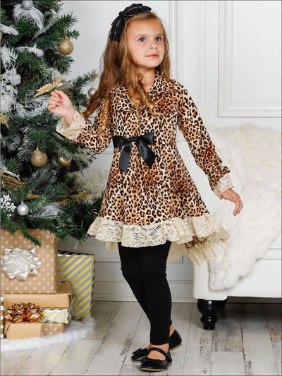 Girls Leopard Print Long Sleeve Hi-Lo Collared Lace Ruffle Blazer Tunic & Leggings Set - Girls Fall Dressy Set