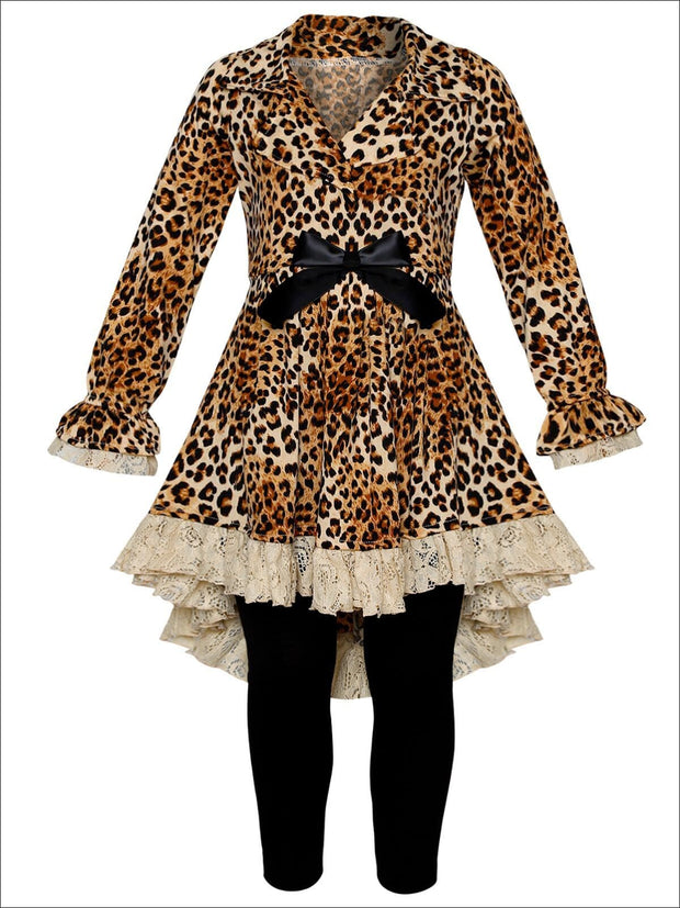 Girls Leopard Print Long Sleeve Hi-Lo Collared Lace Ruffle Blazer Tunic & Leggings Set - Brown / 2T/3T - Girls Fall Dressy Set