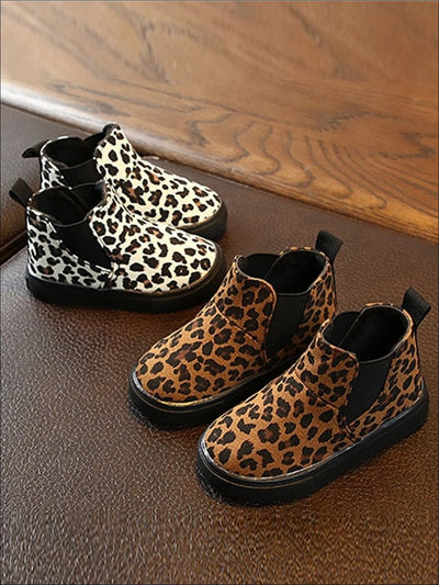 Girls Leopard Print Non-Slip Ankle Booties - Girls Boots