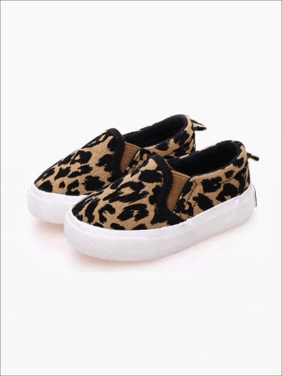 Girls Leopard Print Slip-On Sneakers - Girls Loafers