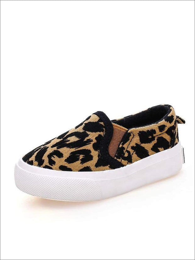 Girls Leopard Print Slip-On Sneakers - khaki / 1 - Girls Loafers