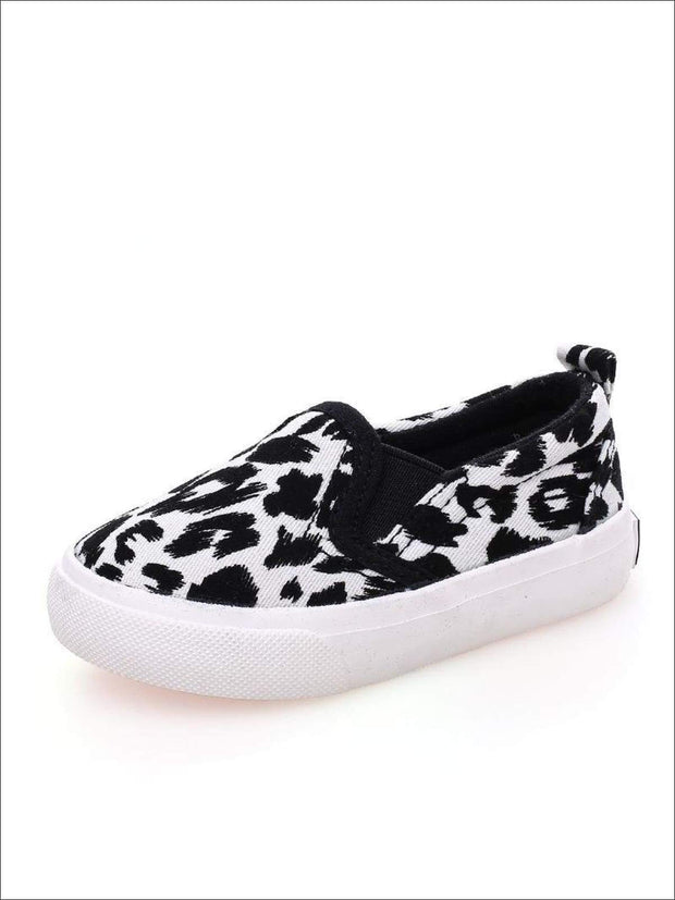 Girls Leopard Print Slip-On Sneakers - White / 1 - Girls Loafers