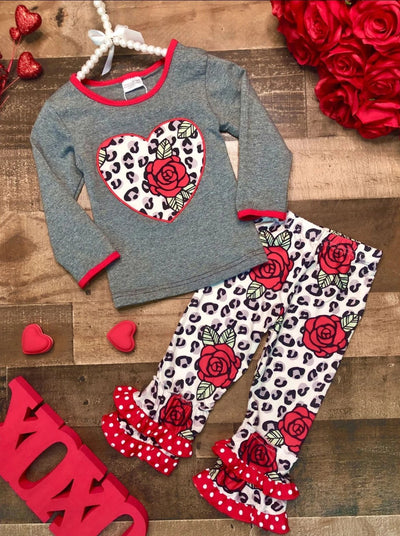 Girls Leopard Rose Heart Applique Top & Ruffled Leggings Set - Grey / 2T - Girls Fall Casual Set