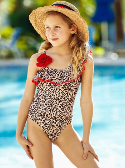 Girls Leopard Ruffle Rose Trim One Piece Swimsuit - Girls One Piece Swimsuit