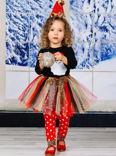 Girls Leopard Santa Applique Top Tutu Skirt and Polka Dot Leggings Set - Girls Christmas Set