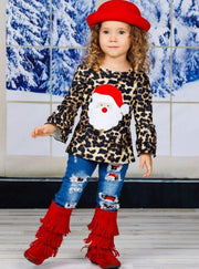 Girls Leopard Santa Ruffled Top and Ripped Jeans Set - Girls Christmas Set