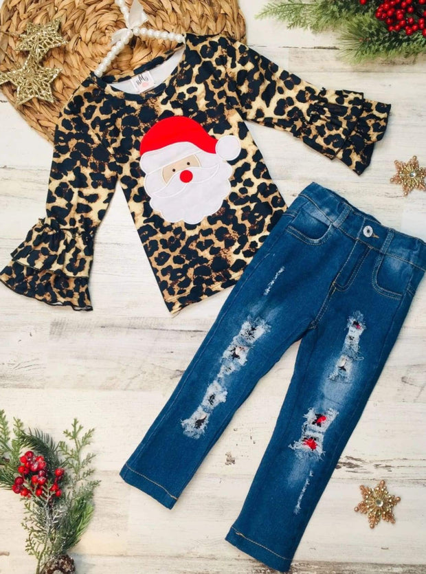 Girls Leopard Santa Ruffled Top and Ripped Jeans Set - Brown / 2T - Girls Christmas Set