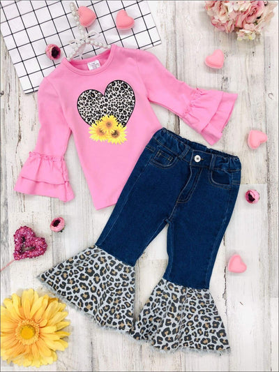 Girls Leopard Sunflower Heart Ruffled Top and Bell Bottom Jeans Set - Girls Fall Casual Set