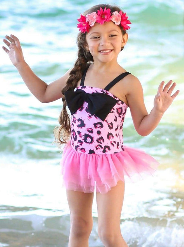 Girls Leopard Tutu One Piece Swimsuit with Bow Detail - Girls One Piece Swimsuit