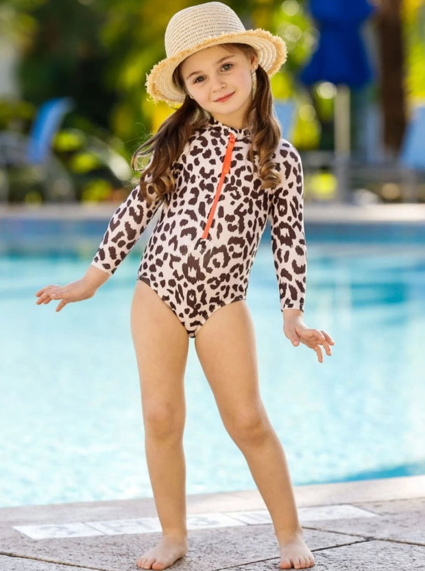 Girls Leopard Zipper Rash Guard One Piece Swimsuit - Girls One Piece Swimsuit