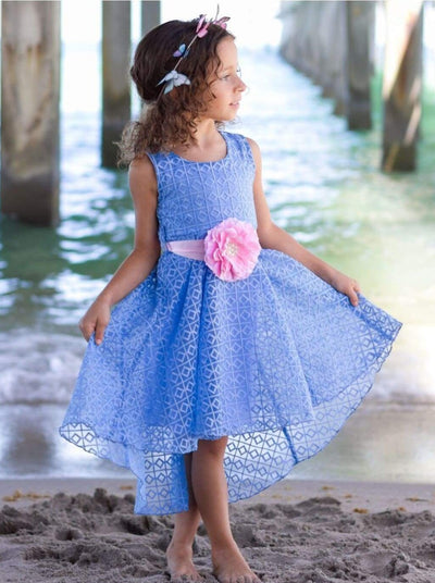 Girls Light Blue Crochet Lace Hi-Lo Boho Dress