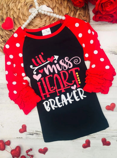 Girls Lil Miss Heart Breaker Polka Dot Ruffled Top - 2T / Black - Girls Fall Top