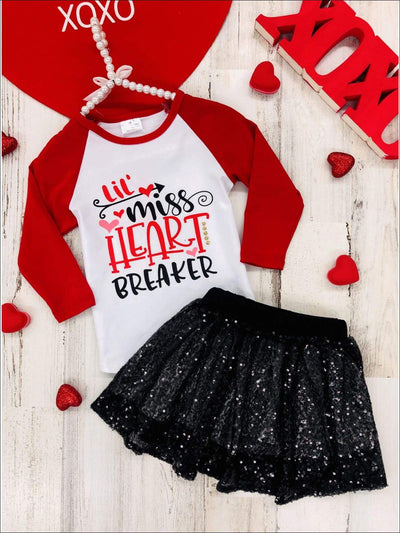 Girls Lil Miss Heart Breaker Top and Sequin Skirt Set - Red / 2T - Girls Fall Casual Set