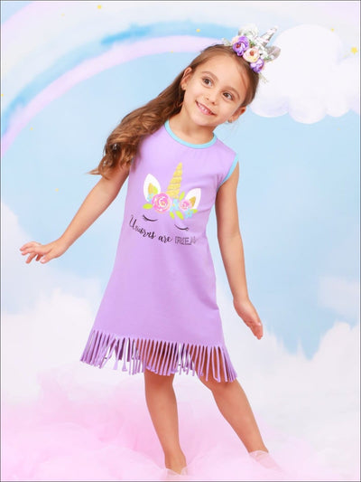 Girls Lilac Sleeveless Unicorns are Real Gold Glitter Fringe Dress - Girls Spring Casual Dress