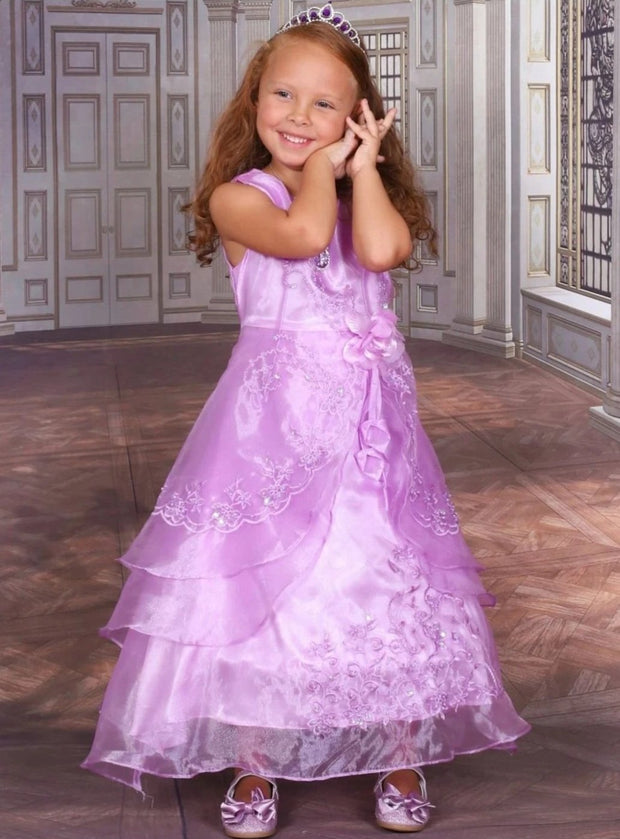Girls Lilac Tiered Princess Sofia the First Inspired Costume - Girls Halloween Costume