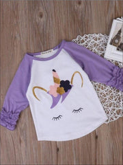 Girls Lilac & White Graphic Sleeping Unicorn Ruffled Sleeve Raglan Top - Girls Graphic Top