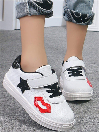 Girls Lip & Glitter Star Applique Sneakers - Black / 1.5 - Girls Sneakers