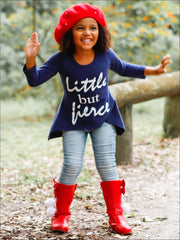 Girls Little But Fierce Hi-Lo Long Sleeve Graphic Statement Top - Girls Fall Top