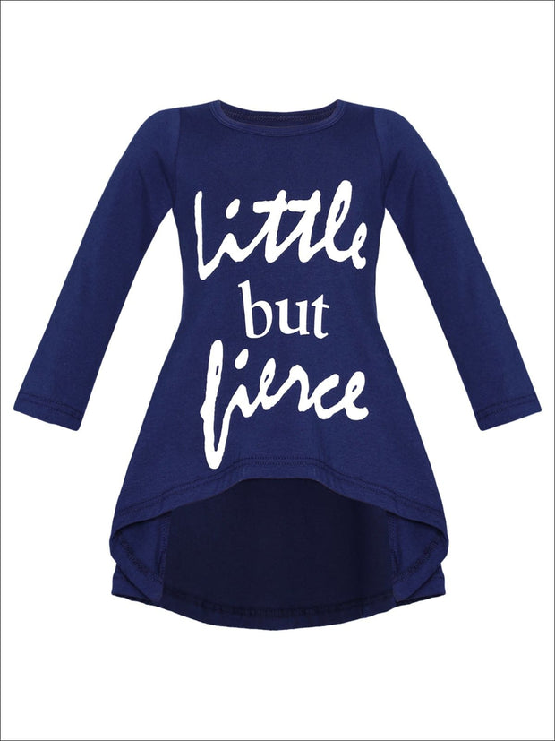 Girls Little But Fierce Hi-Lo Long Sleeve Graphic Statement Top - Navy / 2T/3T - Girls Fall Top