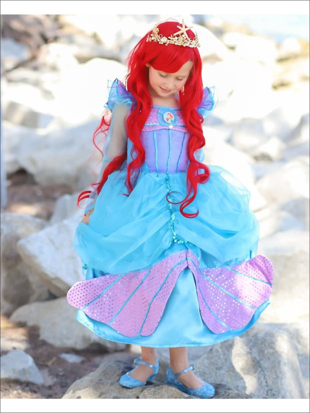 Girls Little Mermaid Inspired Sequined Princess Ariel Halloween Costume - Girls Halloween Costume