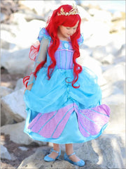 Girls Little Mermaid Inspired Sequined Princess Ariel Halloween Costume - Blue / 3T - Girls Halloween Costume