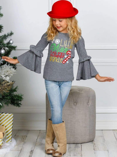 Girls Little Miss Holiday Sparkle Ruffled Bell Sleeve Top - 2T / Grey - Girls Christmas Top