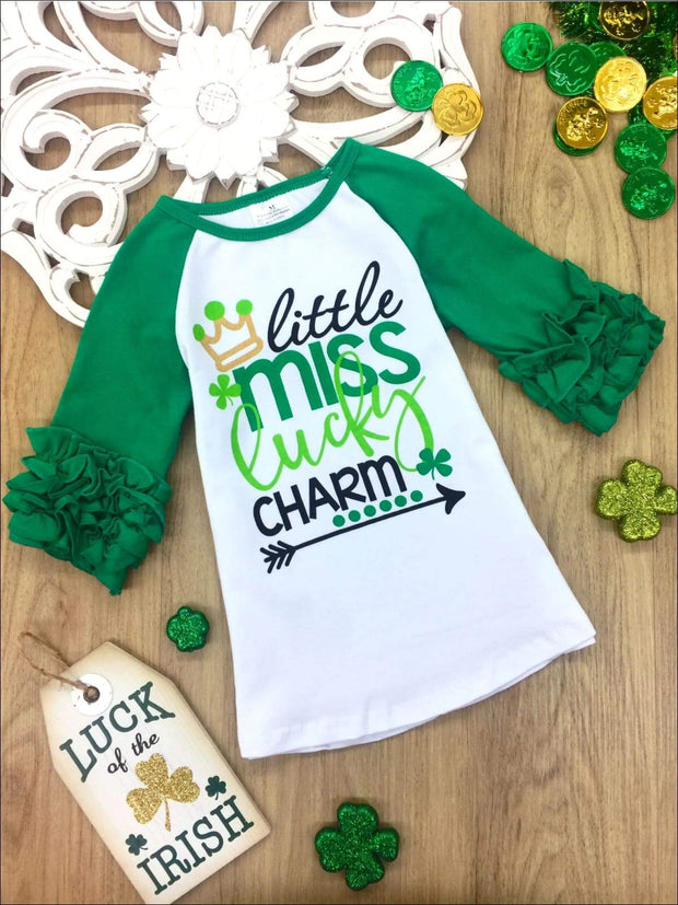 Girls Little Miss Lucky Charm Ruffled Top - Green / 2T - Girls St. Patricks Top
