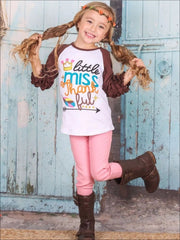 Girls Little Miss Thankful Graphic Raglan Top with 3/4 Ruffled Sleeves - Girls Fall Top