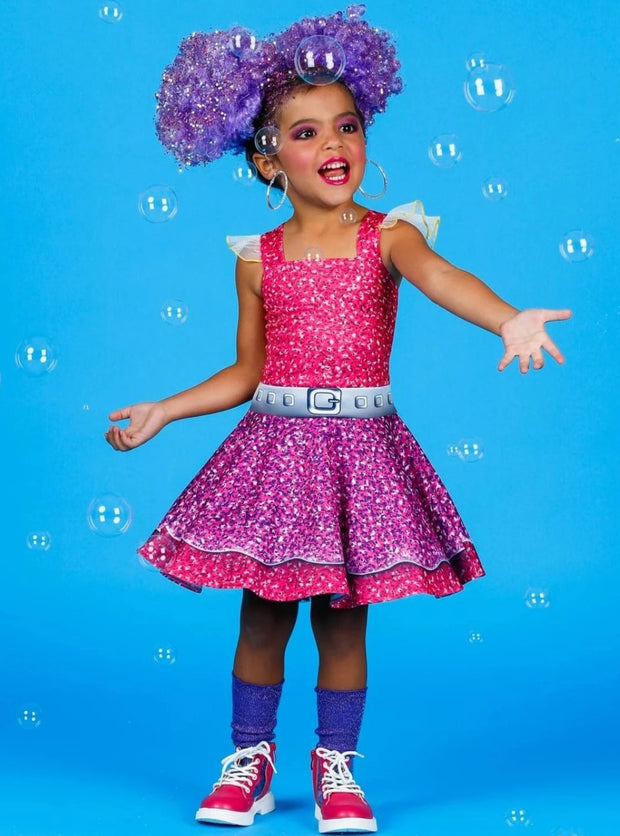 Girls LOL Doll Purple Queen Inspired Halloween Costume Dress - Girls Halloween Costume