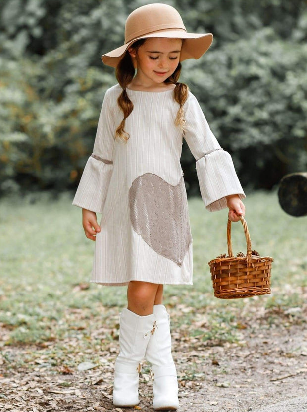 Girls Long Bell Sleeve Dress With Heart Applique - Girls Fall Casual Dress