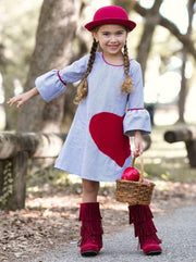 Girls Long Bell Sleeve Dress With Heart Applique - Blue / 2T/3T - Girls Fall Casual Dress