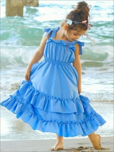 Girls Long Blue Ruffled Maxi Dress - Blue / 3T - Girls Spring Casual Dress