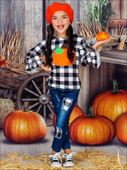 Girls Long Double Ruffle Sleeve Top in The Boo Crew & Pumpkin Print & Ripped Jeans Set - Girls Fall Casual Set