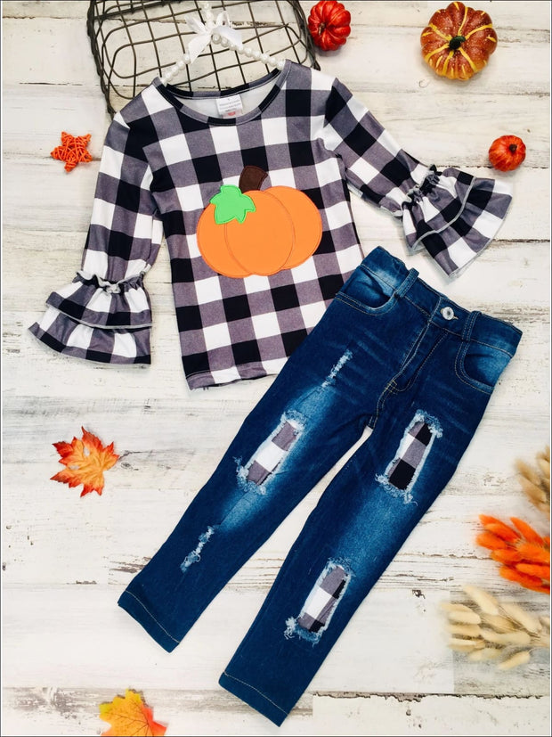 Girls Long Double Ruffle Sleeve Top in The Boo Crew & Pumpkin Print & Ripped Jeans Set - Black / 3T - Girls Fall Casual Set