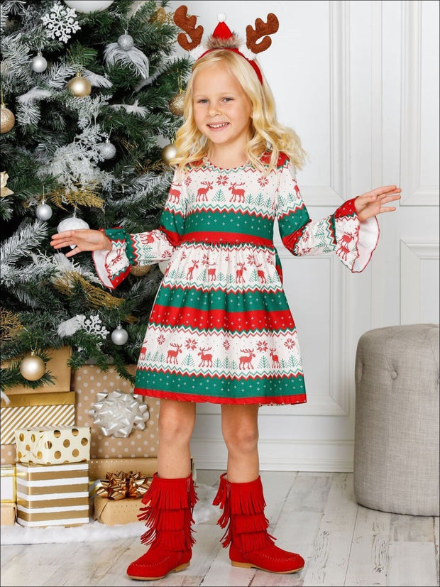 Girls Long Flared Sleeve Moose Print Dress - Girls Christmas Dress