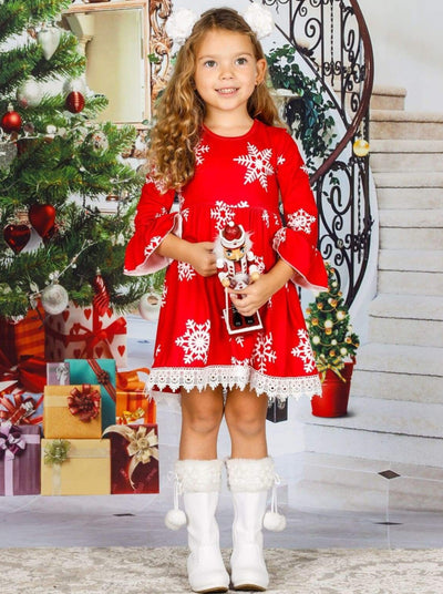 Girls Long Flared Sleeve Snowflake Print Crochet Dress - Red / 3T - Girls Christmas Dress