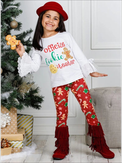 Girls Long Lace Bell Sleeve Official Cookie Tester Top & Gingerbread Print Leggings Set - Girls Fall Casual Set