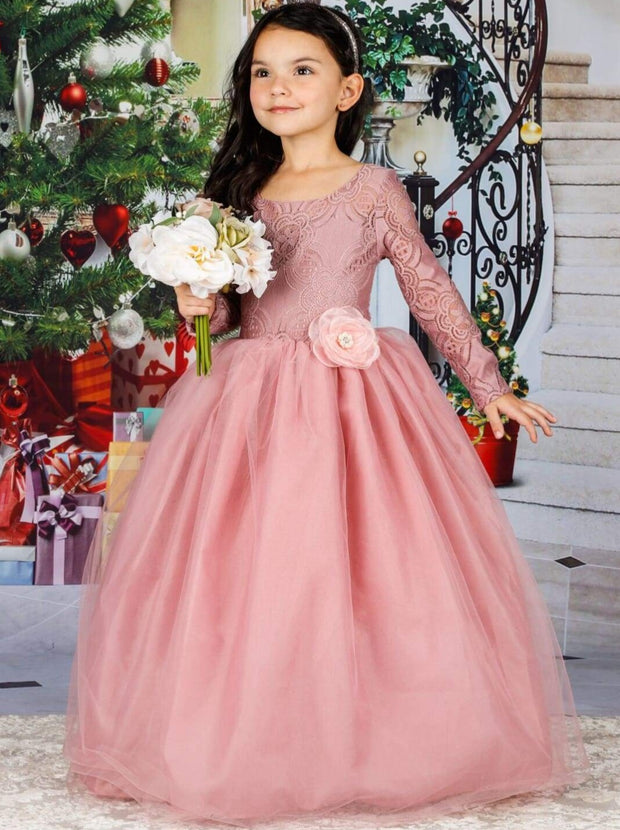 Girls Long Lace Sleeve Maxi Dress with Flower Clip - Pink / 2T/3T - Girls Fall Dressy Dress