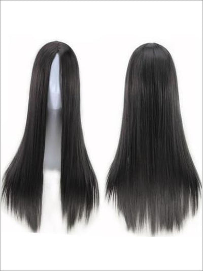 Girls Long Pocahontas Wig - black / 26inches - Girls Halloween Costume