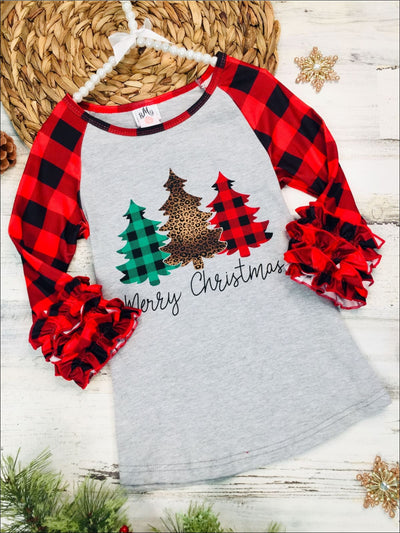 Girls Long Ruffled Plaid Sleeve Merry Christmas Christmas Tree Print Raglan Sleeve Top - Grey / 2T - Girls Christmas Top