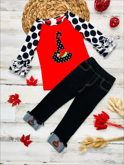 Girls Long Ruffled Raglan Sleeve Top with Candy Corn Cutie & Witch Hat Prints & Applique Cuffed Jeans Set - Girls Halloween Set