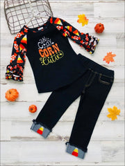 Girls Long Ruffled Raglan Sleeve Top with Candy Corn Cutie & Witch Hat Prints & Applique Cuffed Jeans Set - Black / 2T - Girls Halloween Set