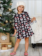Girls Long Ruffled Sleeve Penguin Print Dress - Girls Fall Casual Dress