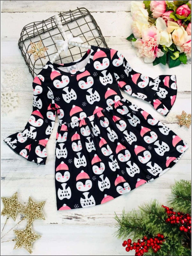 Girls Long Ruffled Sleeve Penguin Print Dress - Black / 2T - Girls Fall Casual Dress