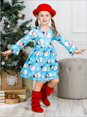 Girls Long Ruffled Sleeve Snowman Print Dress - Girls Fall Casual Dress