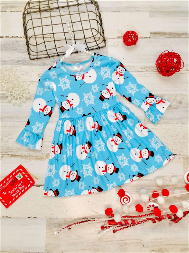 Girls Long Ruffled Sleeve Snowman Print Dress - Blue / 2T - Girls Fall Casual Dress