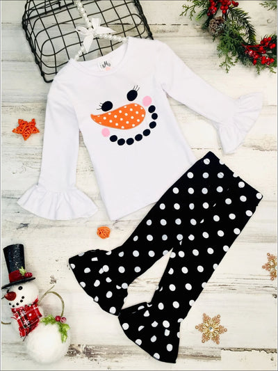 Girls Long Ruffled Sleeve Snowman Top & Ruffled Polka Dot Leggings Set - White / 3T - Girls Fall Casual Set