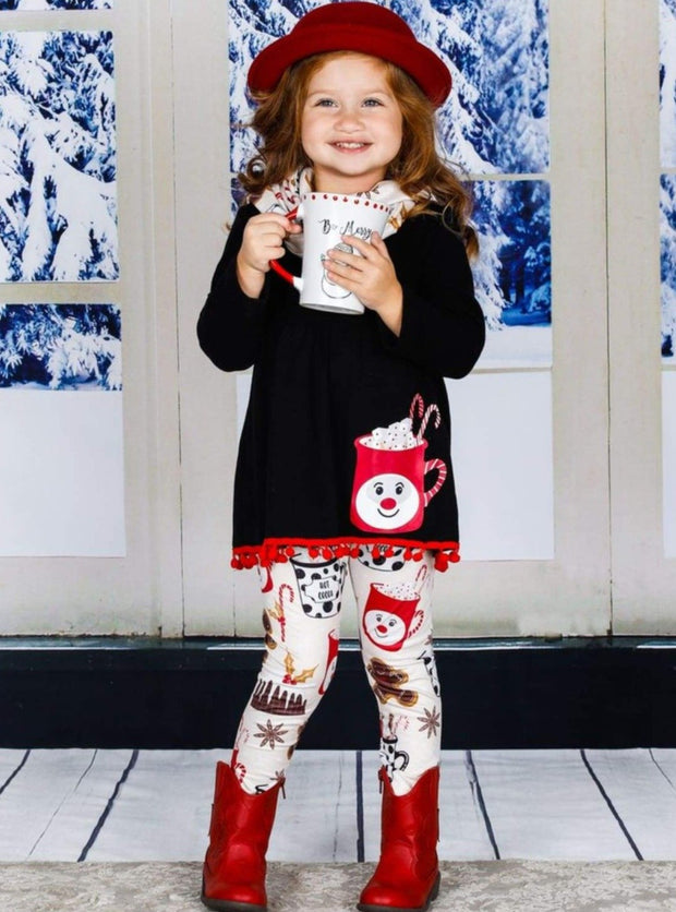 Girls Long Sleeve A-Line Tunic Printed Leggings & Scarf Set - Girls Christmas Set